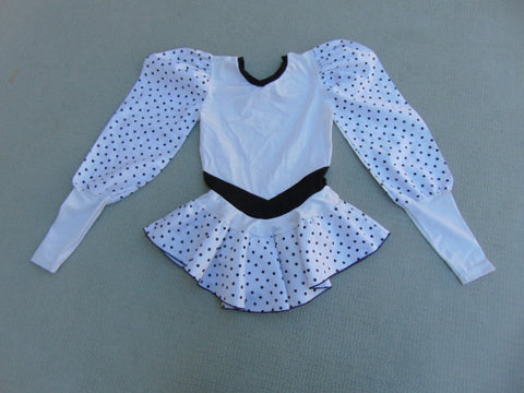 Ballet Dance Figure Skating Dress Child Size 8-10  White Black Dots