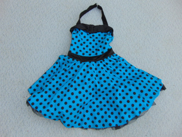 Ballet Dance Figure Skating Dress Child Size 8 Blue Black Dotted Satin Nylon New Demo Model