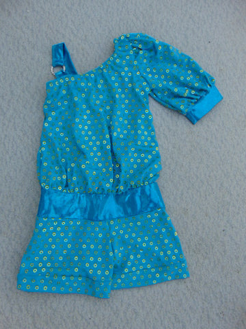 Ballet Dance Figure Skating Dress Child Size 10-12 Blue Satin Nylon Gold Sequence