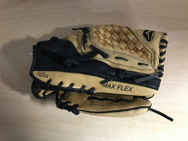 Baseball Glove Adult Size 11.5 inch Mizuno Max Flex Black Brown Soft Leather Fits on LEFT Hand As New