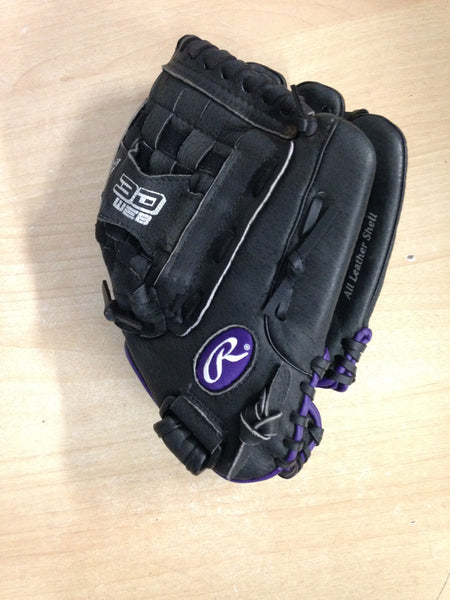 Baseball Glove Adult Size 12.5 inch Rawlings Gold Glove Black Purple Soft Leather As New Fits on Left Hand
