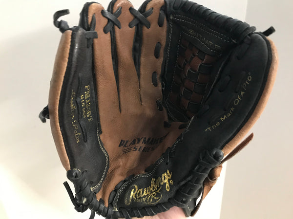 Baseball Glove Adult Size 12.5 inch Rawlings Leather Black Brown Fits on RIGHT Hand