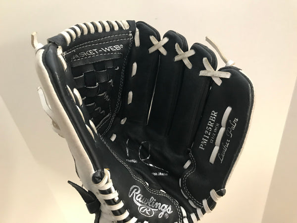 Baseball Glove Adult Size 12.5 inch Rawlings Leather Black White Fits on LEFT hand Excellent