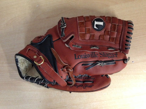Baseball Glove Adult Size 13.5  inch Louisville Slugger TPS Leather Bruise Guard Brown Left Hand Excellent Quality Condition