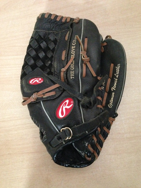 Baseball Glove Adult Size 13 inch Rawlings Black Brown Soft Leather Fits on Left Hand