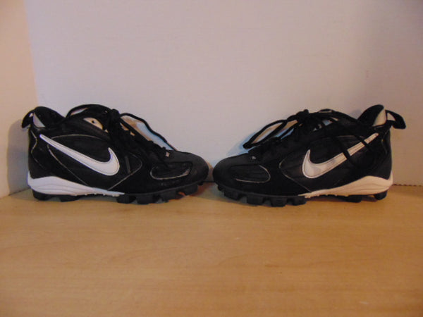 Baseball Shoes Cleats Child Size 1  Nike Black White Excellent
