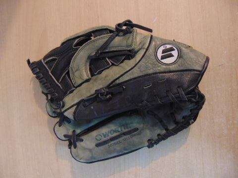 Baseball Glove Adult Size 12 inch Worth M125 Black  Grey Leather Fits on RIGHT Hand Minor Wear