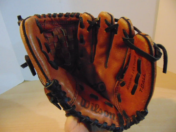 Baseball Glove Child Size 10 inch Wilson Leather Black Brown Fits on Left Hand