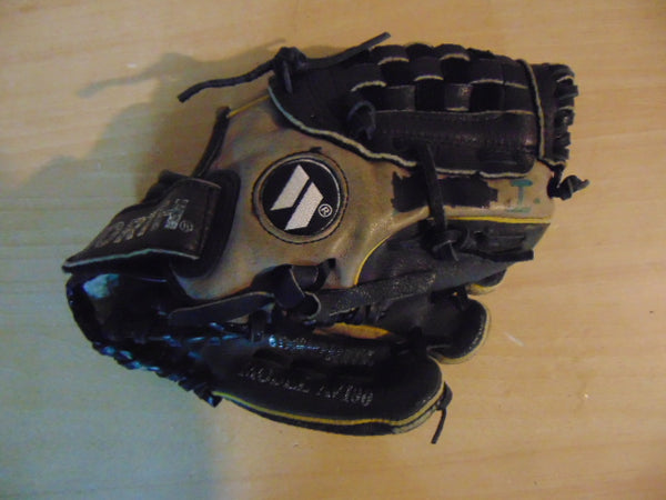 Baseball Glove Child Size 10 inch Worth Grey Black Leather Fits On Left Hand