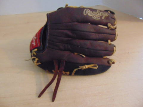 Baseball Glove Adult Size 11.5 inch Rawling Brown Black Leather Fits on RIGHT Hand Excellent