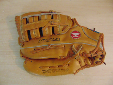 Baseball Glove Adult Size 13 inch Mizuno Light Flex Softball Brown Leather Fits on RIGHT Hand