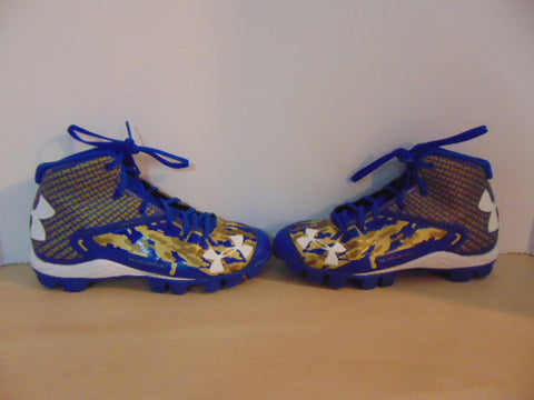 Baseball Shoes Cleats Child Size 4 Under Armour Blue Gold White Excellent