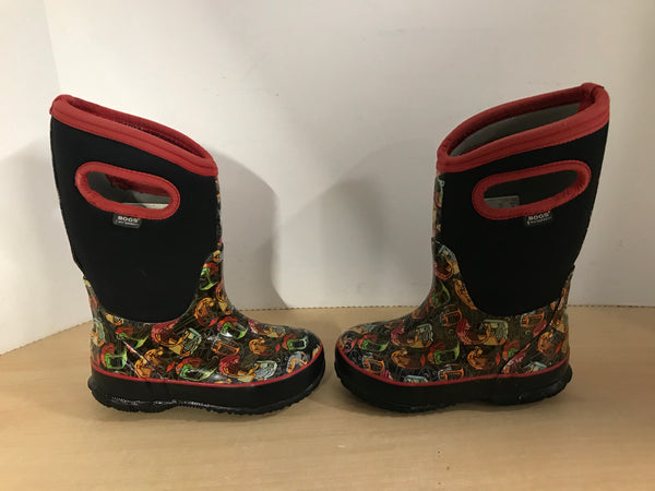 Bogs Brand Child Size 10 Black Multi With Cozy Coupe Cars Neoprene Rubber Rain Winter Snow Waterproof Boots