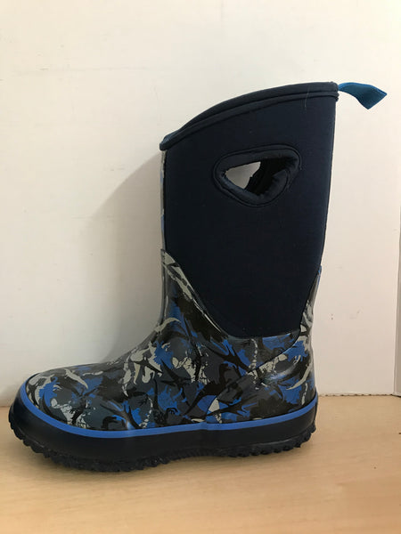 Bogs Style Child Size 13 Storm Marine Blue Multi Excellent Neoprene Rubber Rain Winter Snow Waterproof Boots