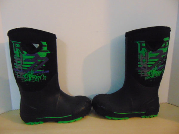 Bogs Style Child Size 2 Neoprene Rubber Boots Green Black Purple Excellent