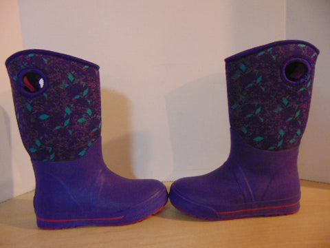Bogs Style Child Size 3 Purple Floral Neoprene Rubber Rain Winter Snow Waterproof Boots Minor Wear