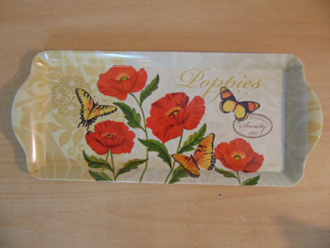 Brilliant Red Poppies Butterflies Botanical Society 1895 Melamine Decorative Tray 15 x 6.5 inch New