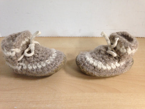 Children's Padraig Wool Handmade Slipper Moccasins Size B5 Age 1 Grey