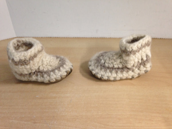 Children's Padraig Wool Handmade Slipper Moccasins Size B5 Age 1 Oatmeal and Grey