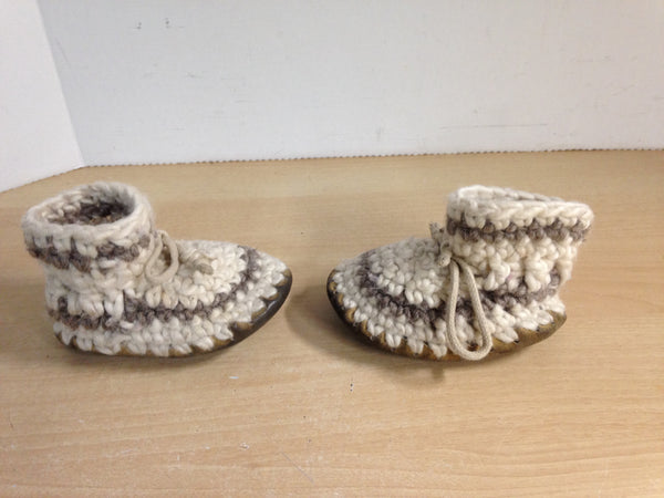 Children's Padraig Wool Handmade Slipper Moccasins Size B5 Age 1 Oatmeal and Brown
