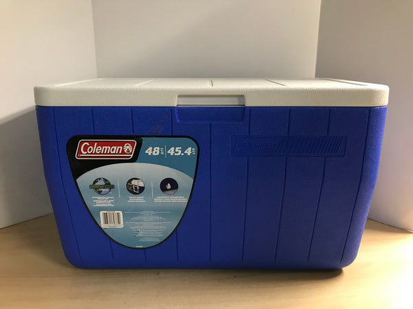 Camping Adventures Cooler Coleman Chest 48 Quart With Plug Keeps Ice 3 Days As New Blue White