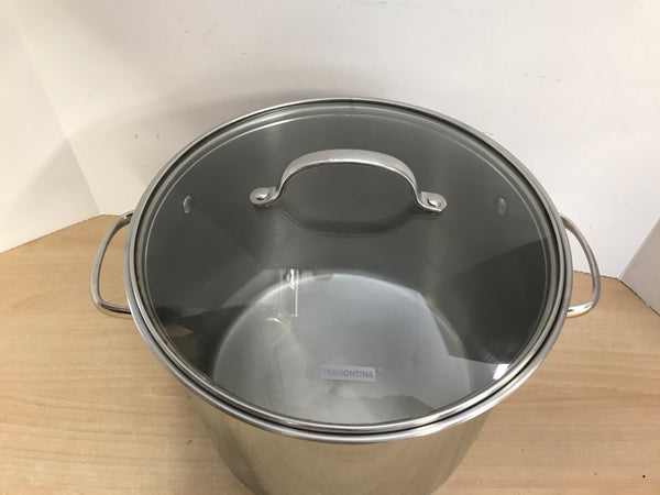 Cottage and Home Tramontina Professional 12 Quart 18-10 Stainless Steel Stock Pot With Lid Excellent