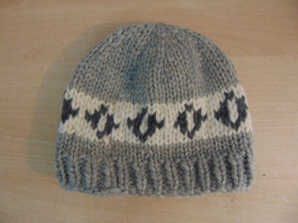 Cowichan Native Indian Wool Hat Grey Adult Large Excellent