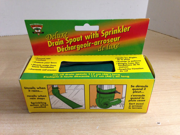 Delux Drain Spout With Sprinkler Diverts Water From House and Foundation NEW in box