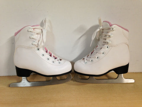Figure Skates Child Size 10 Jackson Soft Skate Toddler White Pink Excellent