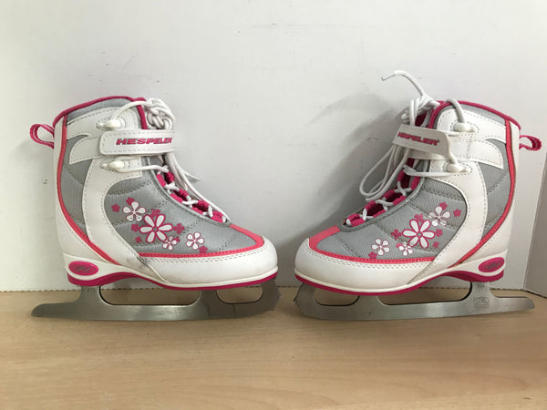 Figure Skates Child Size 11 Hespeler Soft Skates White Pink Excellent