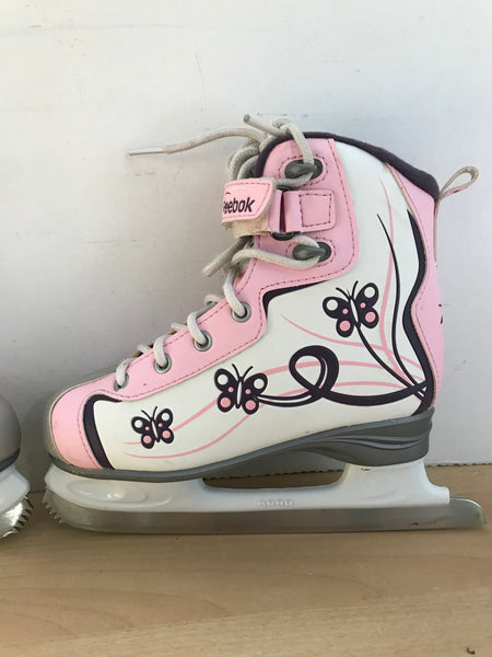 Figure Skates Child Size 2 Reebok Soft Skate Pink Purple Butterfly Excellent