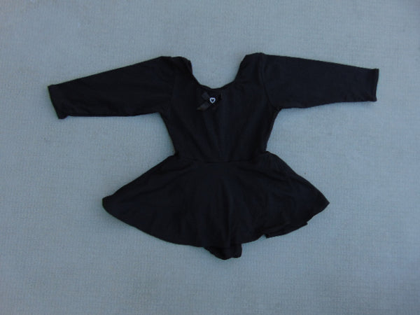 Ballet Dance Figure Skating Dress Child Size 6 X Black Stretch Nylon Excellent