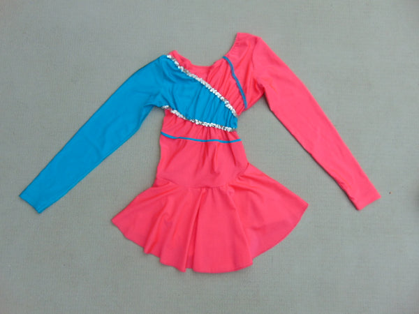 Ballet Dance Figure Skating Dress Ladies Size Small Pink Teal With Sequences New Demo Model