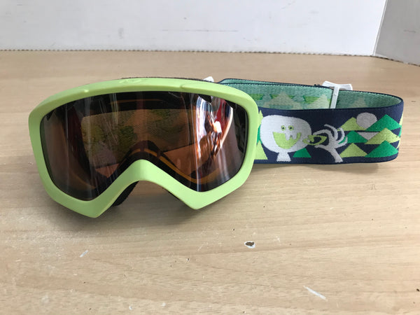 Ski Goggles Child Size 4-7 Lime Blue Black Orange Lenses