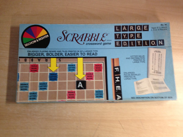 Game Scrabble Large Type Printed Tile Vintage RARE Complete