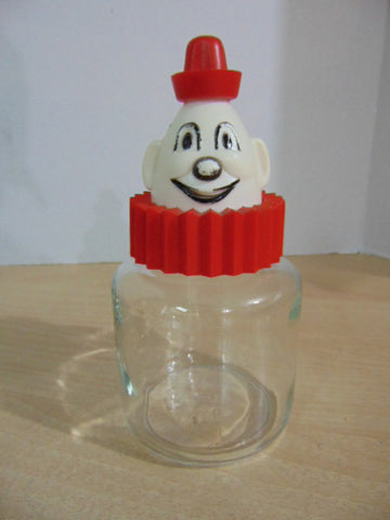 Clown Glass Jar with Old Plastic Lid Vintage 8 inch Minor Wear
