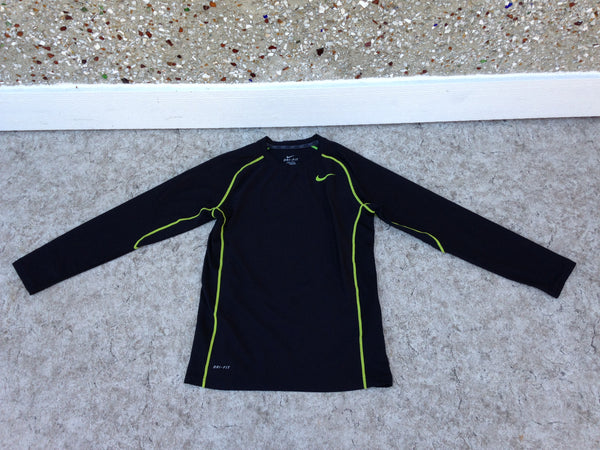 Hockey Base Layer Long Johns Shirt Child Size Junior Large 10  Nike Dry Fit Pro Black Lime Excellent