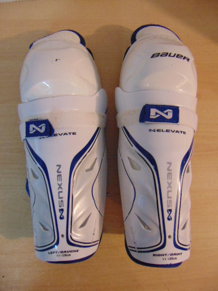 Hockey Shin Pads Child Size 11 inch Bauer Nexus Elivate Blue White Fantstic Quality