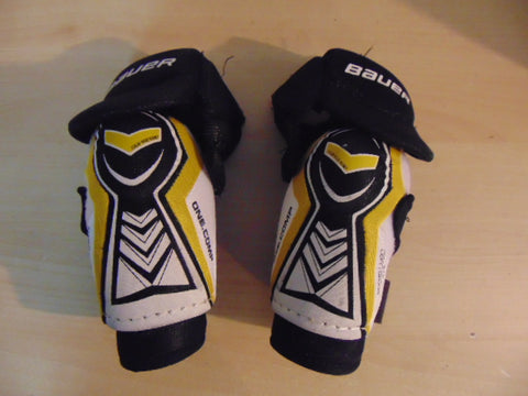 Hockey Elbow Pads Child Size Junior Medium Bauer One Comp White Yellow Black