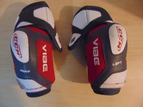 Hockey Elbow Pad Child Size Junior Large CCM Vibe Grey White Red As New
