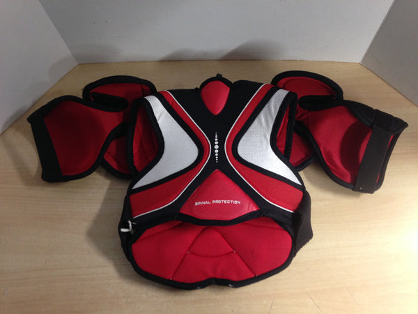 Hockey Shoulder Chest Pad Child Size Junior Small Bauer Canada Red Black White Minor Wear