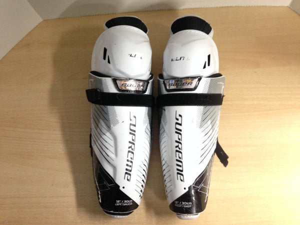Hockey Shin Pads Child Size 12 inch Bauer Supreme Elite Calf Wrap Black White Yellow Excellent