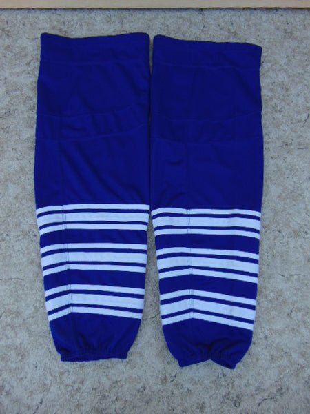 Hockey Socks Men's Size 30 inch Large Blue White NEW Two velco fasteners interlock inserts