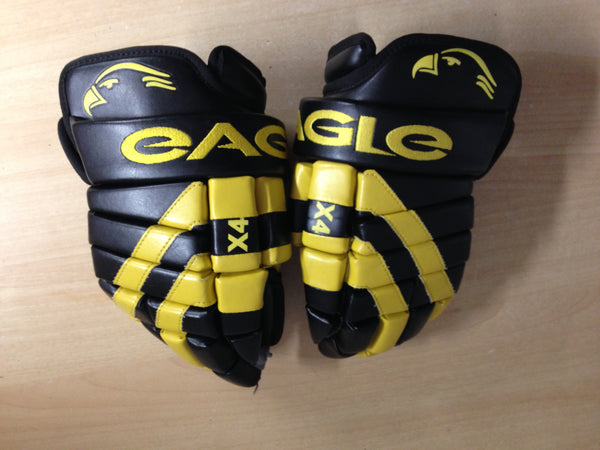Hockey Gloves Men's Size 13 inch Eagle Odyssey X4 Black Yellow Pro Quality Excellent