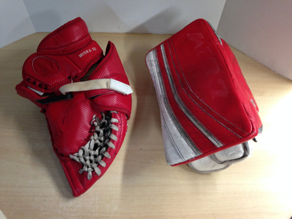 Hockey Goalie Catch Glove Hunter Miska Professional Custom 45 inch and Blocker CCM Lefvere Premier Professional Ice Hockey Leather
