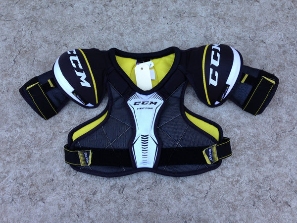 Hockey Shoulder Chest Pad Child Size Junior Medium Black Yellow Excellent
