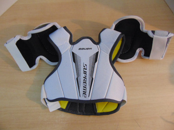Hockey Shoulder Chest Pad Child Size Y Medium 4-6 Bauer Supreme White Grey Yellow As New