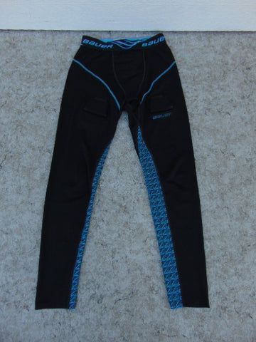 Hockey Base Layer Long Johns Bauer Child Size Junior Large 12 Black Aqua Excellent