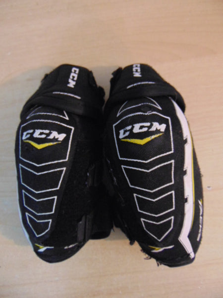 Hockey Elbow Pads Child Size Junior Large CCM Tacks Black White Yellow Excellent