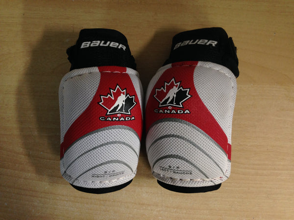 Hockey Elbow Pads Child Size Y Small 3-4 Bauer Canada White Red Excellent